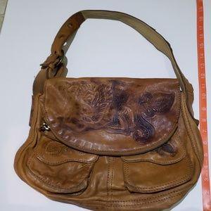 Lucky Brand Stash Bag tooled Leather purse tan